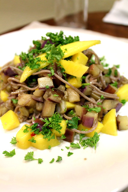 soba noodles with mango and eggplant
