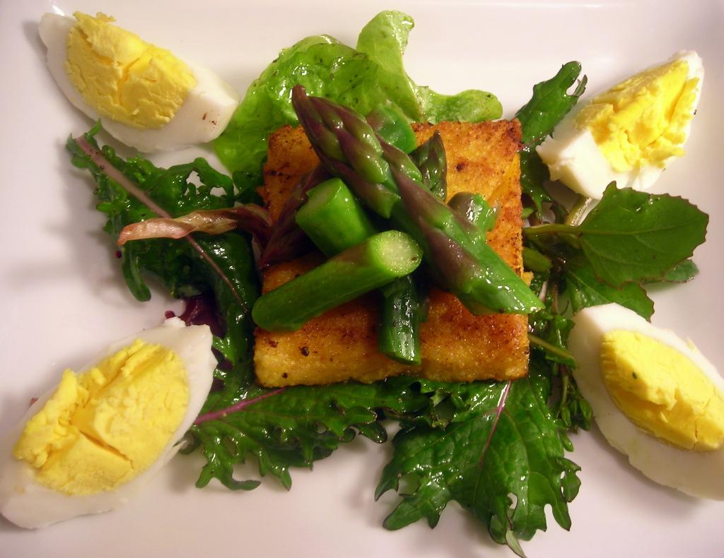 Asparagus salad, polenta cake, wild turkey egg