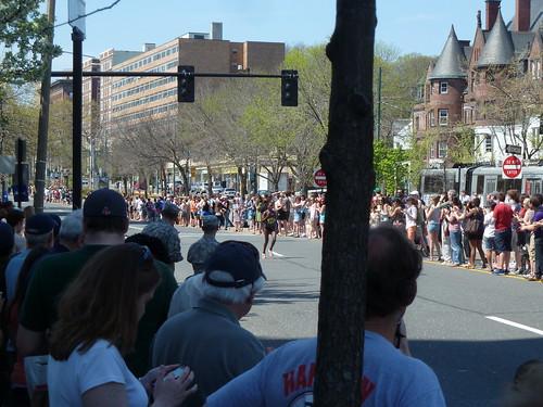 Lead runners in the Boston Marathon 2012 in Brookline