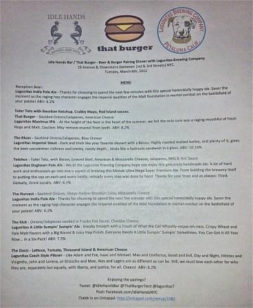 Lagunitas/That Burger pairing dinner at Idle Hands Bar - the menu