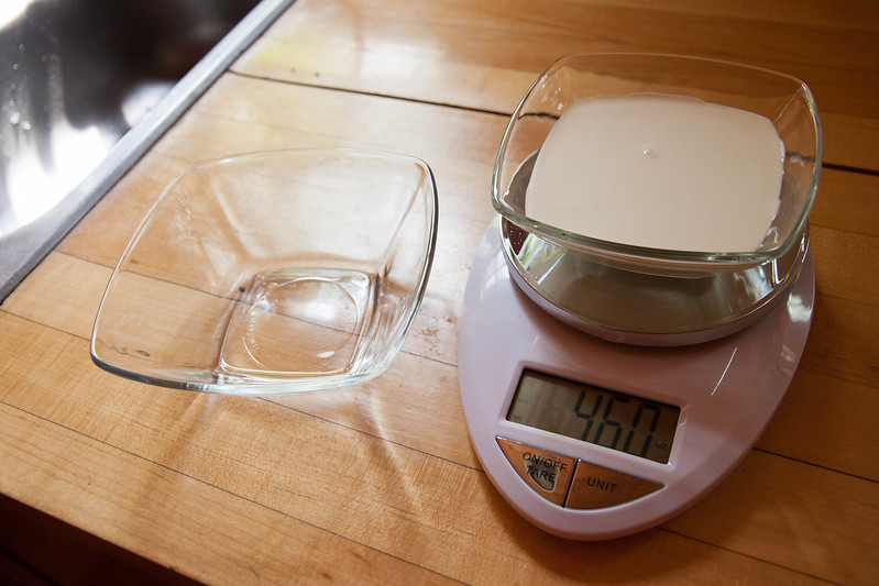 whipping cream on the scale