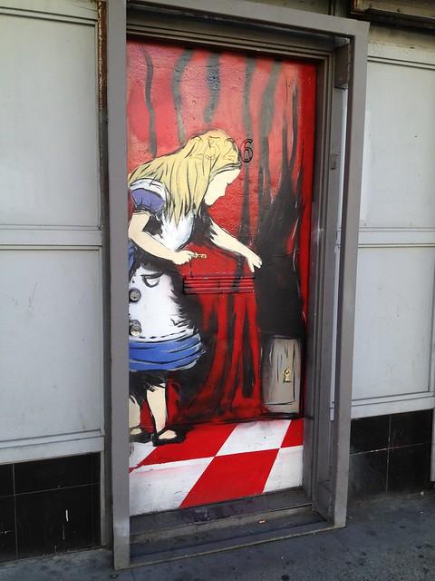 Alice in Wonderland graffiti mural, Mission Street