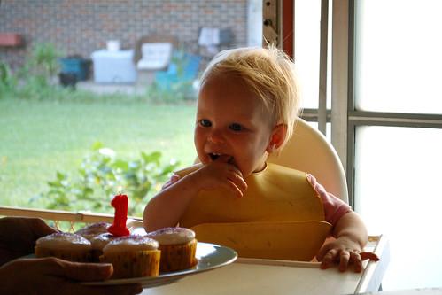Birthday cupcake.