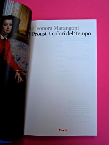 Proust. I colori del tempo, di Eleonora Marangoni. Electa 2014. Design di Paolo Tassinari e Leonardo Sommoli. Verso della carta di guardia, frontespizio (part.), 1