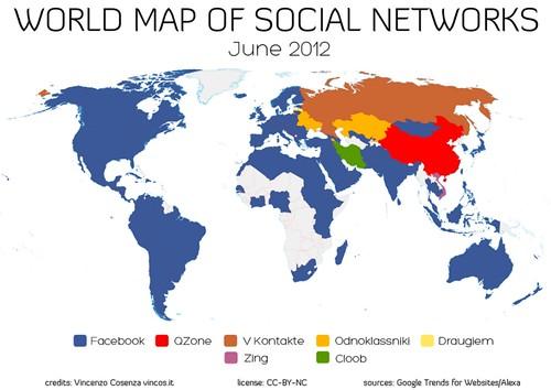 Peta penggunaan situs jejaring sosial di dunia - Juni 2012
