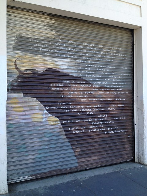 Garage with bull artwork and poem, Valencia Street