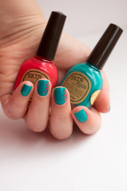 02 Skin Food nail Vita red RE108 blue BL514 Ann Sokolova swatches