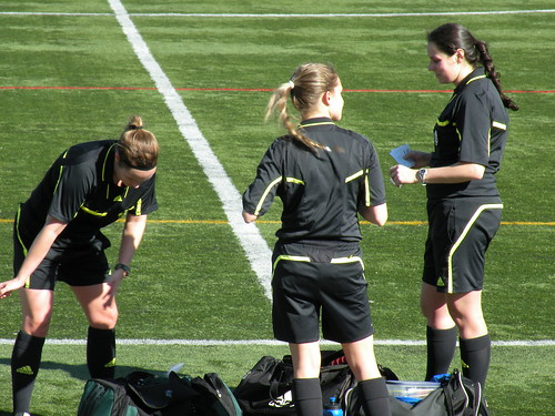 All-female referee crew. Very few calls were questioned by players.