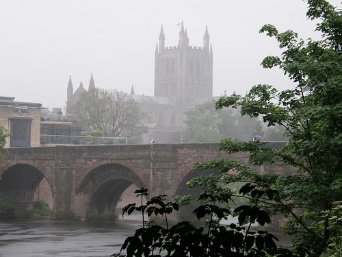 The Wye and Hereford Cathedral in pouring rain
