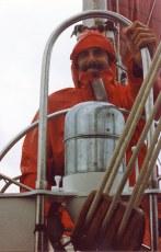 Dave Bricker at helm of Journeyman, 1991