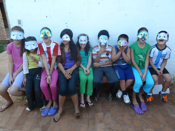 Group of kids with bird masks