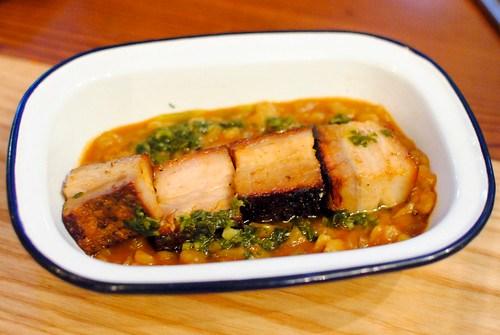 carapulcra peruvian sun dried potato stew, crispy pork belly, chimichurri