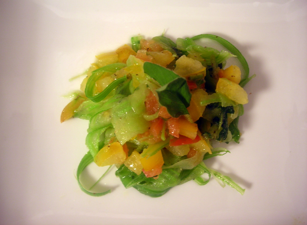 "Celery ""pasta"" and heirloom tomato salad"