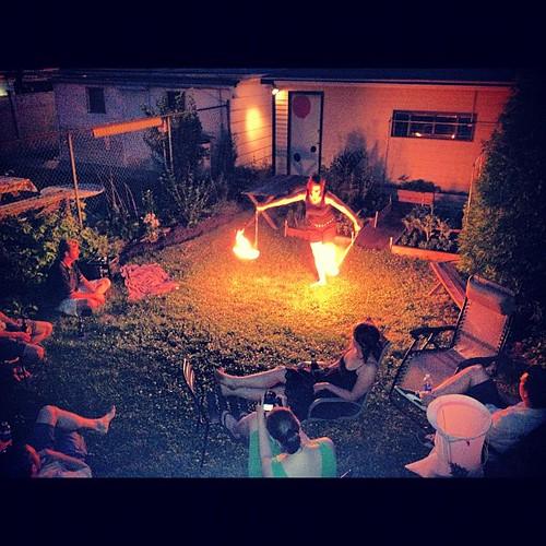 BBQ & fire spinning