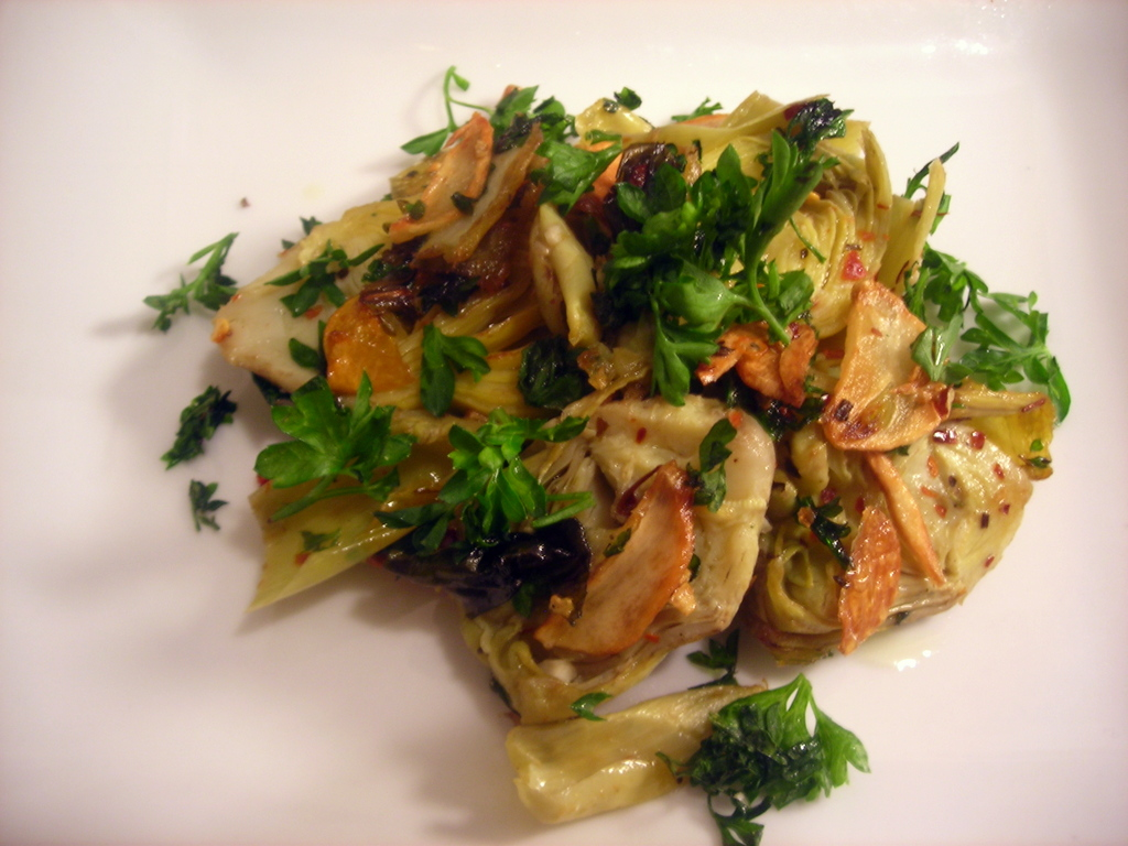Artichokes, with garlic, mint, parsley and chiles