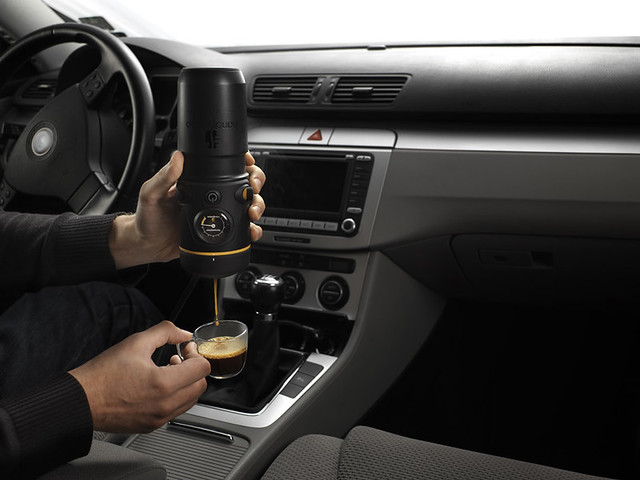 Handpresso Auto E.S.E Portable Auto Espresso Maker is coffee genius. Brew up a shot of espresso in the comforts of the driver's seat. 12V cigarette lighter