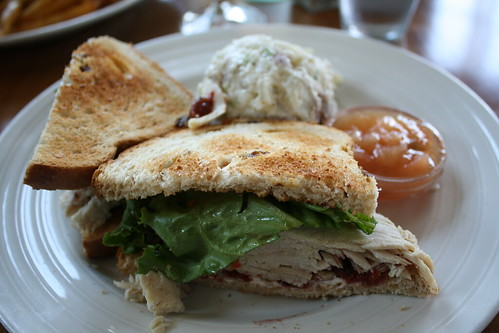 My meal at the Cookery--turkey cream cheese sandwich with cherry chutney