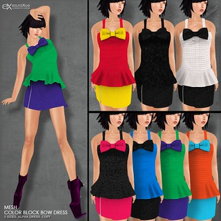 ezura + Color Block Bow Dress All Colors