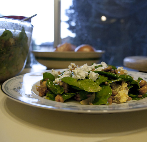 Garlic Roasted Garbanzo Bean and Spinach Salad with Wheat Berries, Walnuts and Chevre