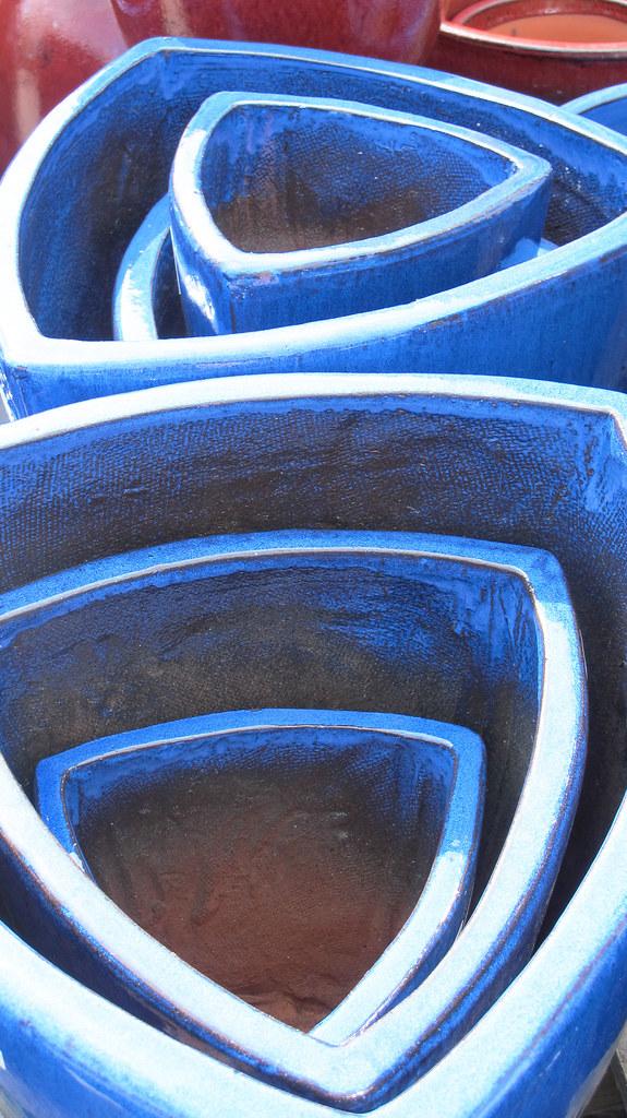 Blue triangle pots