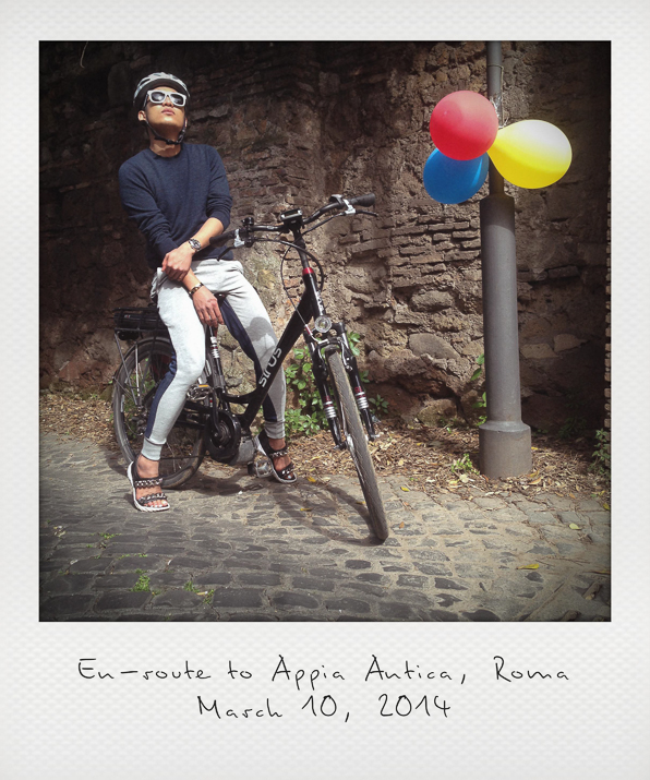 Bryanboy biking on his way to Appia Antica, Rome