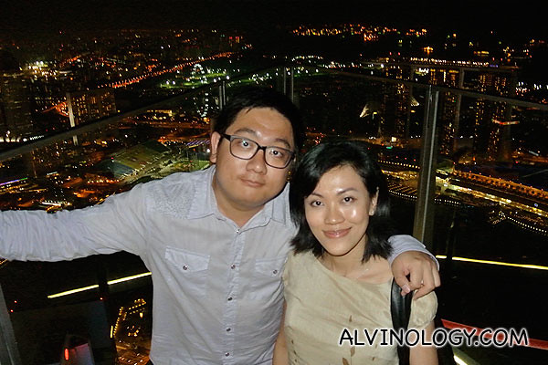 Rachel and I enjoying the good life atop One Raffles Place