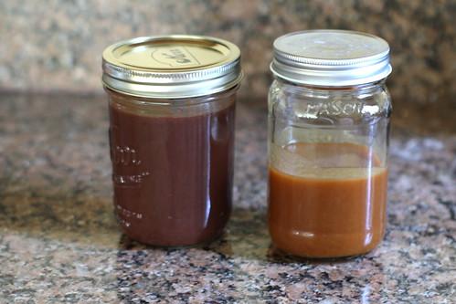 chocolate sauce and caramel sauce