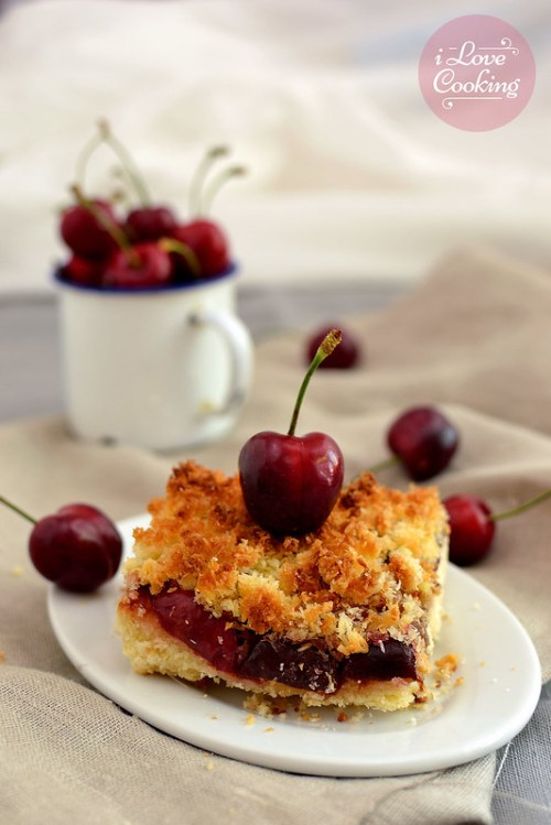 Cherry and coconut slice