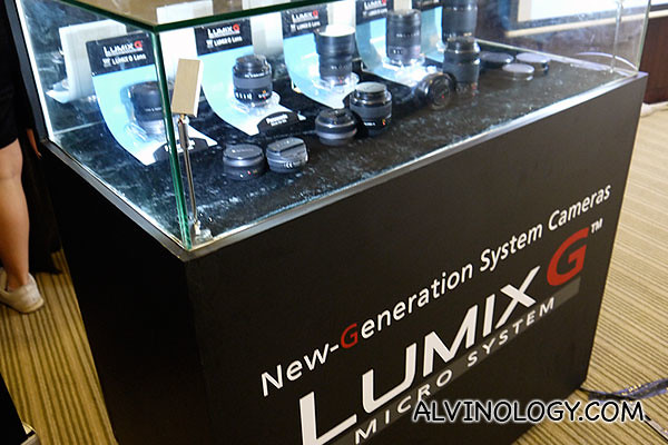 Lumix cameras and lenses on display