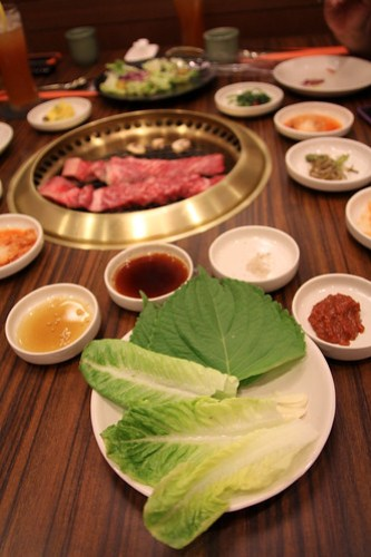 Vegetable wraps for the Galbi at Sariwon Korean Barbecue
