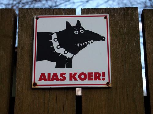 beware the dog sign in Tallin