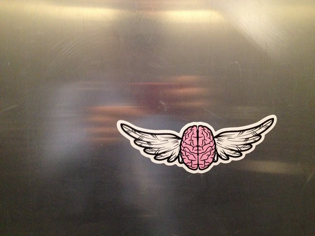 Flying brain sticker