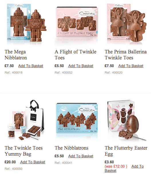 Images of kids' chocolates from Hotel Chocolat, available in pink/fairy or blue/robot