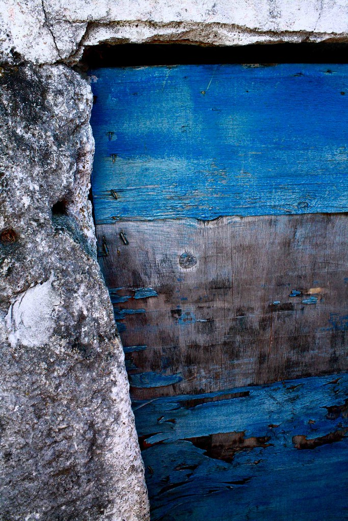 blue weathered door