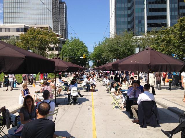 Robson Square pedestrianized.