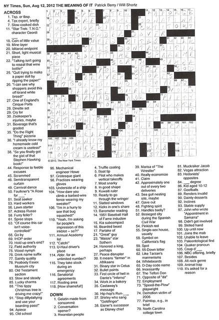 NYT Sunday Puzzle - August 12, 2012