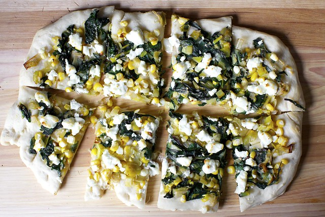 leek, corn and chard flatbread