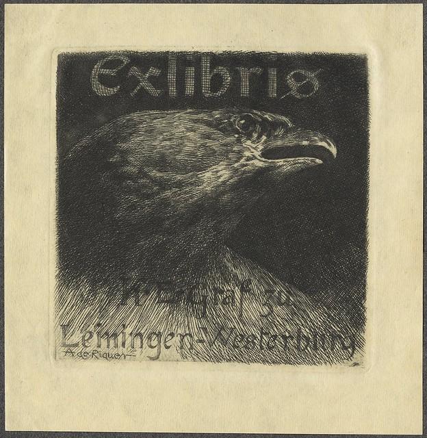 escuro, em forma de quadrado ilustração ex libris dominado pela cabeça de águia
