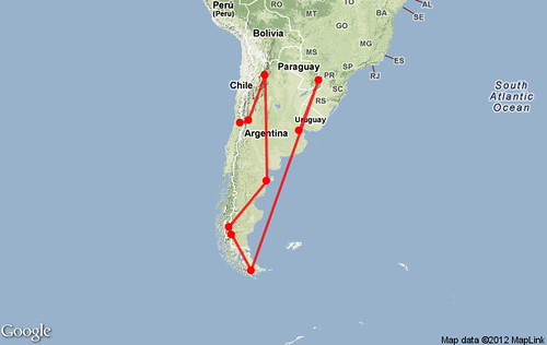 Mapa itinerario viaje Argentina 30 días