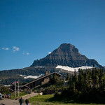 Logan Pass Visitor Center, with Reynolds Mountain in background