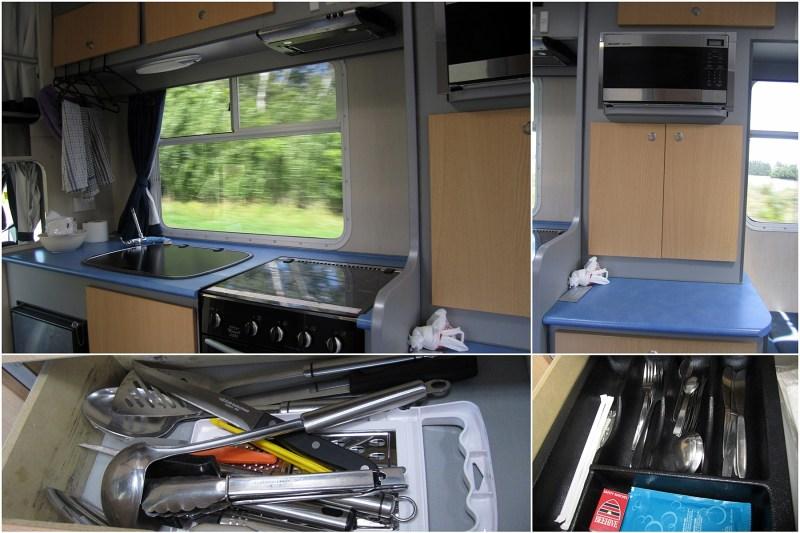 露營車內的廚房廚具