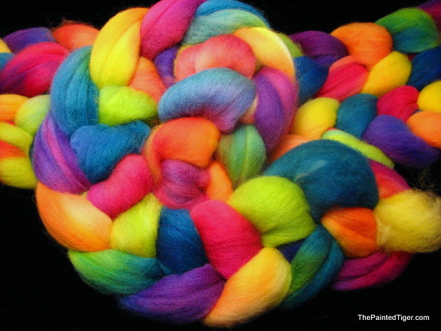 Tropical Rainbow - Hand Dyed Corriedale Roving for Spinning
