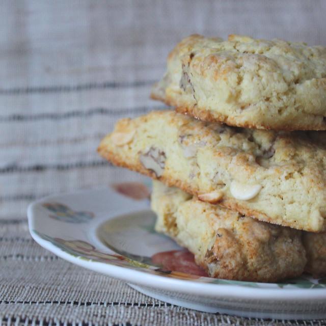 White Chocolate Chip Walnut Scones