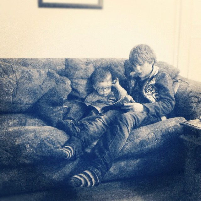 a random right here -right now moment.... the boys reading together-simple joy!