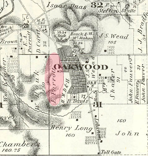 Location of H. Eugene Parrott's farm 'Briar Hill' in Oakwood, 1875