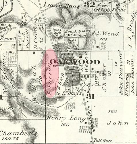 Location of H. Eugene Parrott's farm 'Briar Hill' in Oakwood, 1875