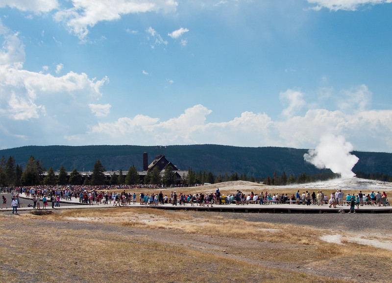 Vistors from all over the world waiting for Old Faithful erupting