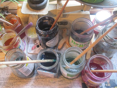 dyepots at the ready