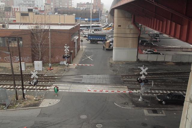 View onto the Long Island City railroad tracks from the Pulaski Bridge. Photograph by Ellen Brenna Dougherty.