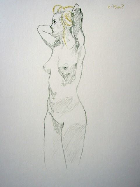 Sketch in light and dark green of standing model with arms folded behind head, unfinished from thighs down